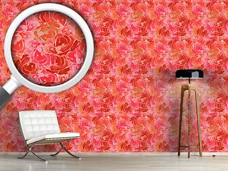 Pattern Wallpaper Covered With Roses