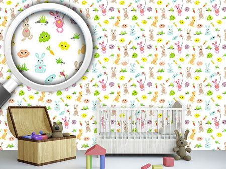 Pattern Wallpaper Bunny Friends