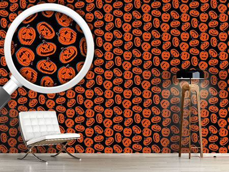 Pattern Wallpaper Pumpkin Heads Black