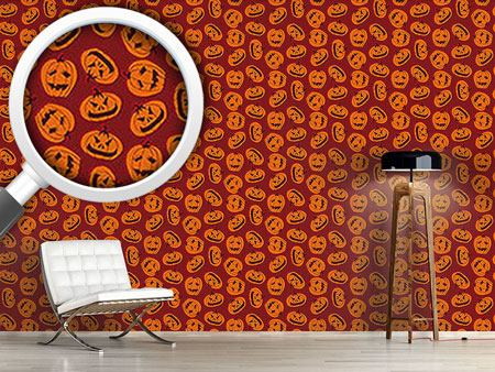 Pattern Wallpaper Pumpkin Heads Brown