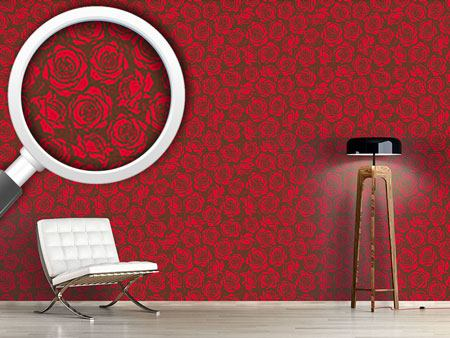 Pattern Wallpaper Rose Blossoms Red