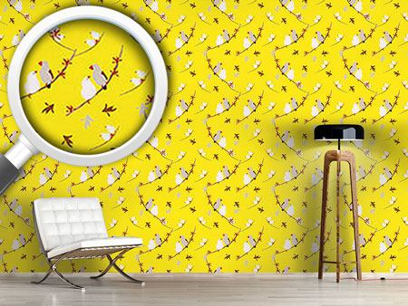 Pattern Wallpaper Lovebirds Yellow