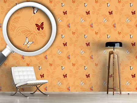 Pattern Wallpaper Butterflies Orange