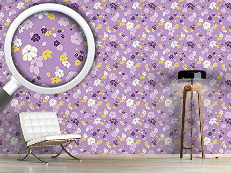 Pattern Wallpaper Lilac Flower Rain