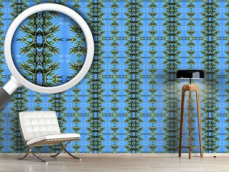 Pattern Wallpaper In The Blue Pinewood