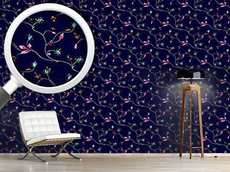 Pattern Wallpaper Rose Tendrils Night