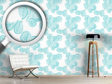 Pattern Wallpaper Aqua Paisley