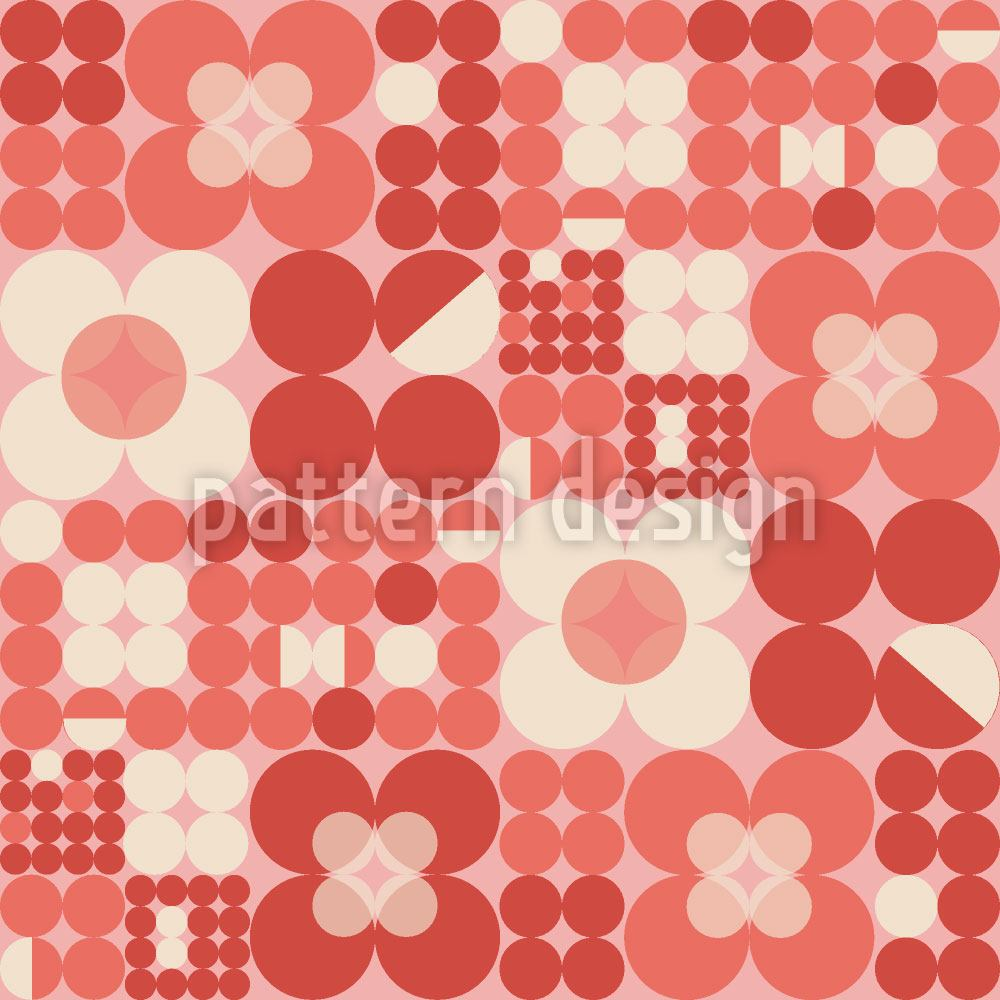 Pattern Wallpaper Round Retro Flowers