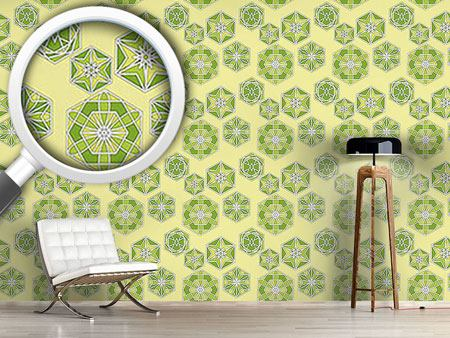 Pattern Wallpaper Green Morocco