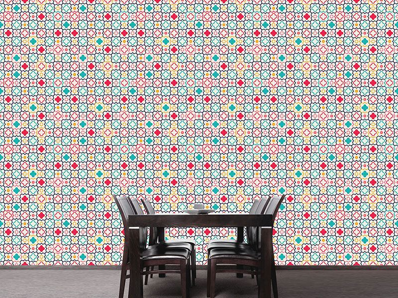 Pattern Wallpaper Quatrefoil Lattice