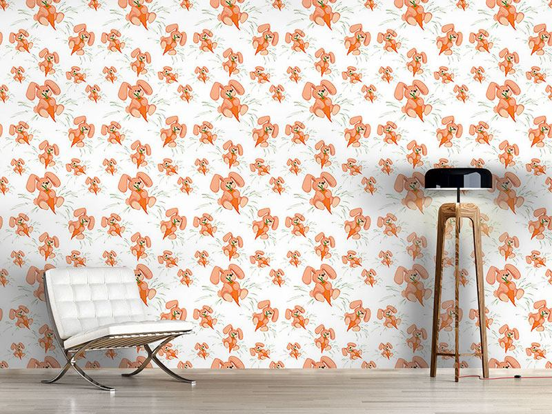 Pattern Wallpaper Bunnies Love Carrots