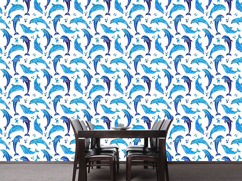 Pattern Wallpaper Dolphins In Water Color