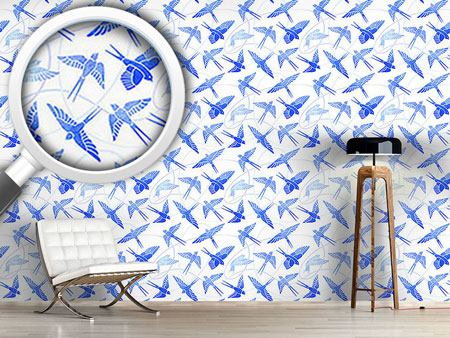 Pattern Wallpaper Swallows Flight