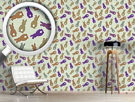 Pattern Wallpaper Bouncing Bunnies Purple