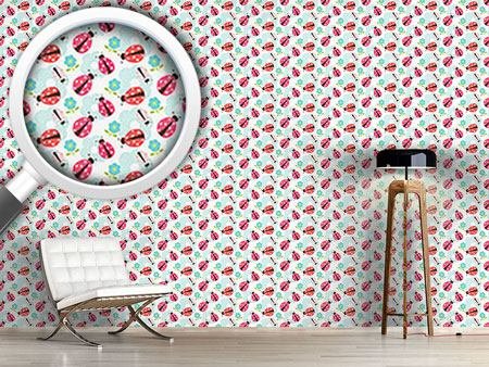 Pattern Wallpaper Flowers And Ladybugs