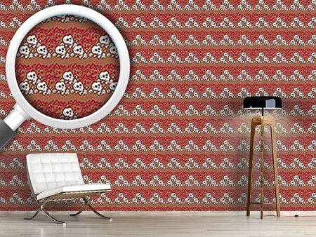 Pattern Wallpaper Skully Brown
