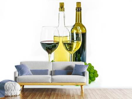 Photo Wallpaper White wine and red wine