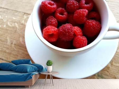 Fototapet A cup of raspberries