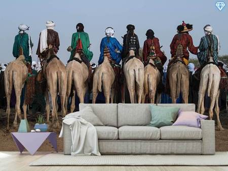 Fototapet Watching The Gerewol Festival From The Camels - Niger