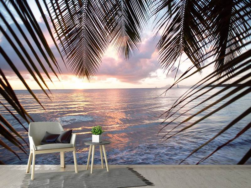 Photo Wallpaper Under Palm Leaves