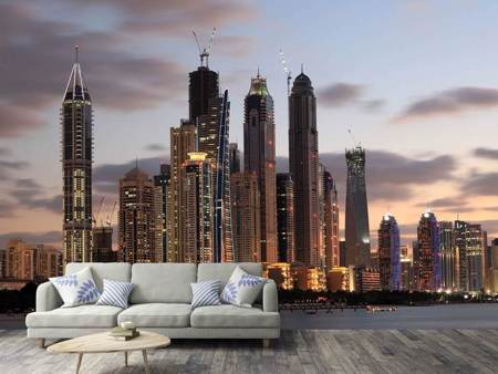 Photo Wallpaper Skyline Dubai At Sunset