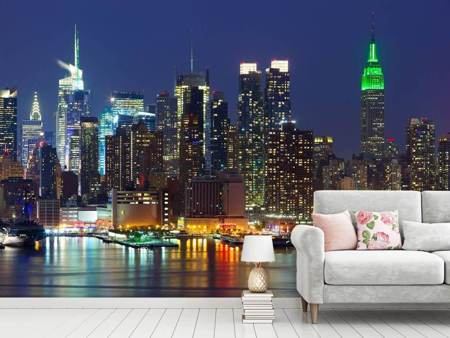 Photo Wallpaper Skyline New York Midtown At Night