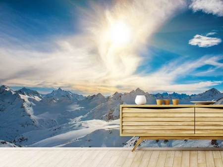 Photo Wallpaper Over The Snowy Peaks